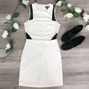 White Bodycon Dress EXPRESS Mesh Insert